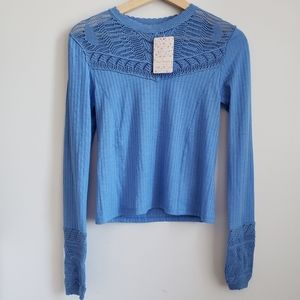 Free People NWT Blue Crochet Long Sleeve Top XS